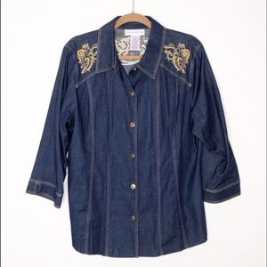 Susan Graver chambray shirt with gold details. L